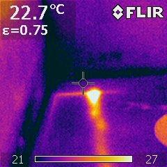 visuel de la fuite a l aide de la camera thermique
